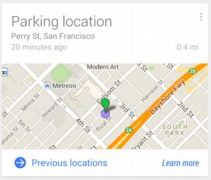 Google Now parkering